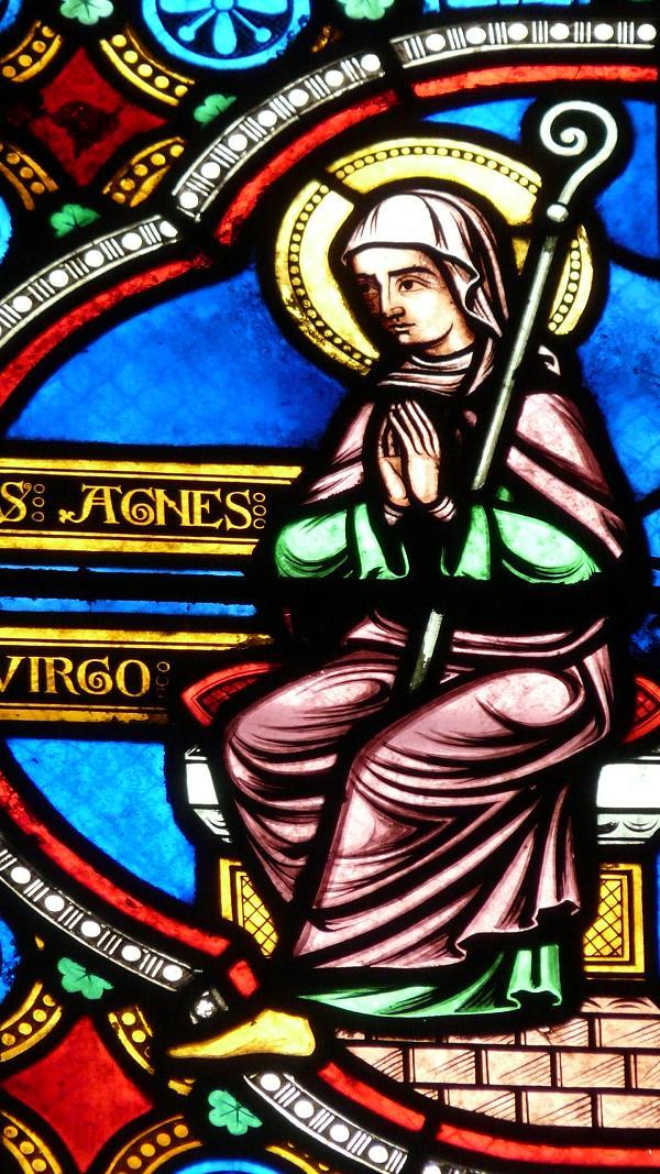 Den hellige Agnes, glassmaleri i kirken Sainte-Radegonde i Poitiers